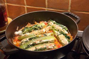 cuisson des celeris branche farcis en cocotte